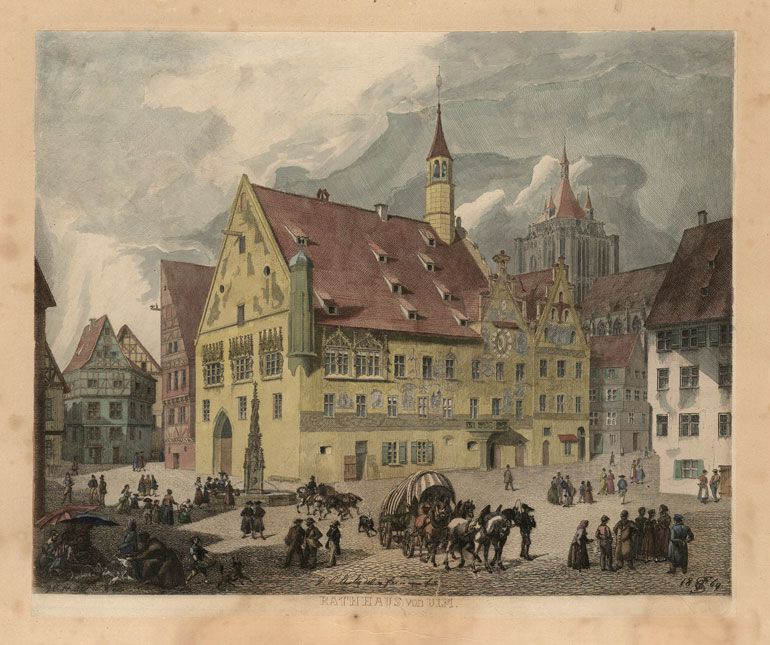 A historic painting of the Town Hall
